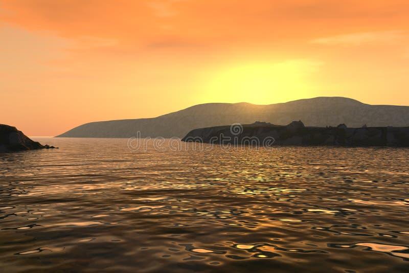Zonsondergang over kustlijn royalty-vrije stock afbeeldingen