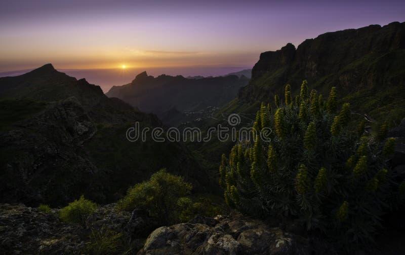 Zonsondergang over Masca, Tenerife royalty-vrije stock afbeelding