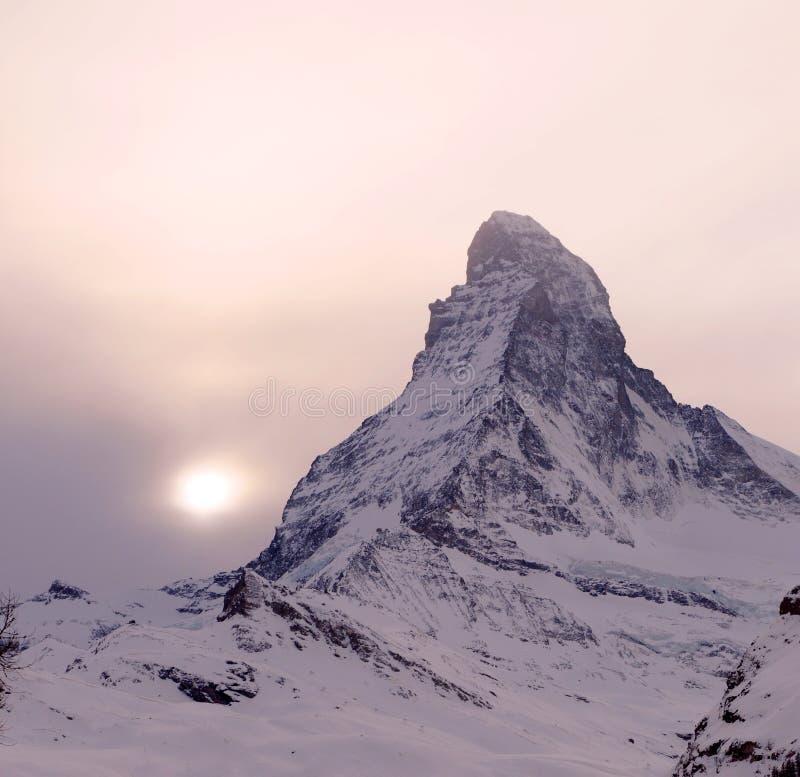 Zonsondergang over Matterhorn royalty-vrije stock afbeeldingen
