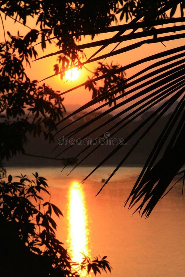Zonsondergang over Mekong Rivier stock afbeeldingen