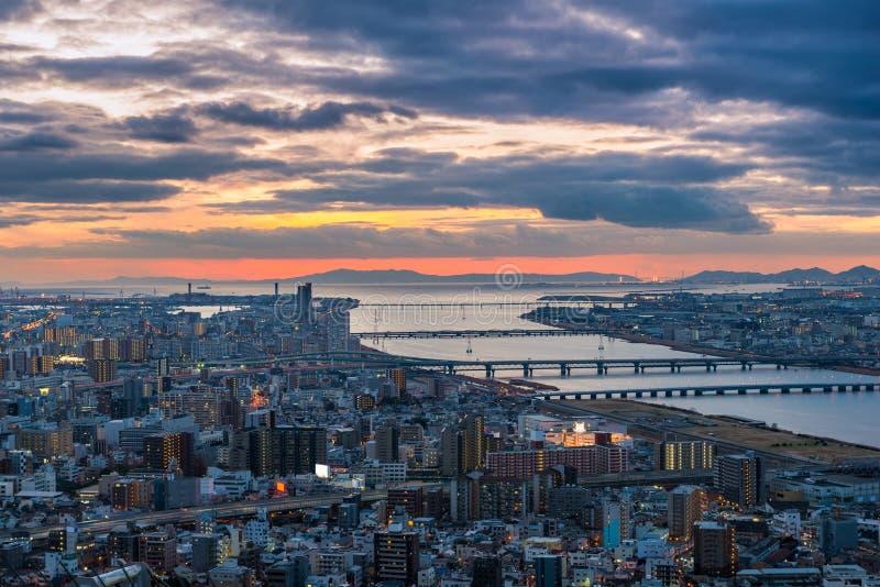 Zonsondergang over Osaka stock fotografie