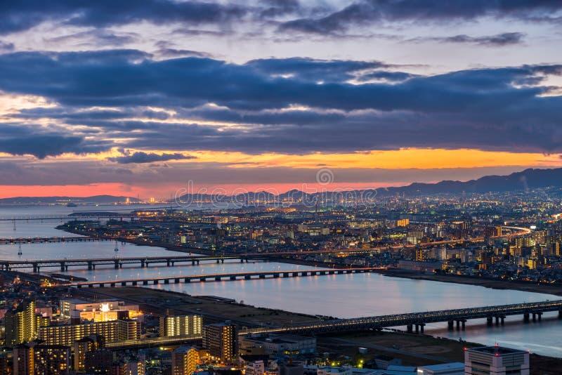 Zonsondergang over Osaka royalty-vrije stock foto's