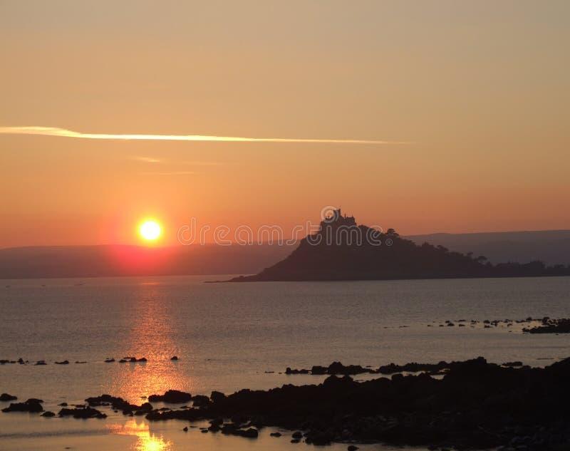 Zonsondergang over overzees in Cornwall royalty-vrije stock afbeelding
