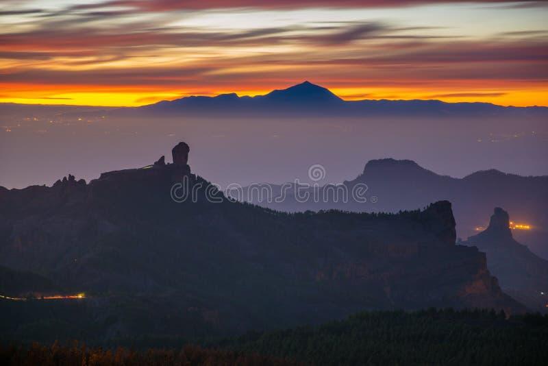 Zonsondergang over Roque Nublo royalty-vrije stock fotografie