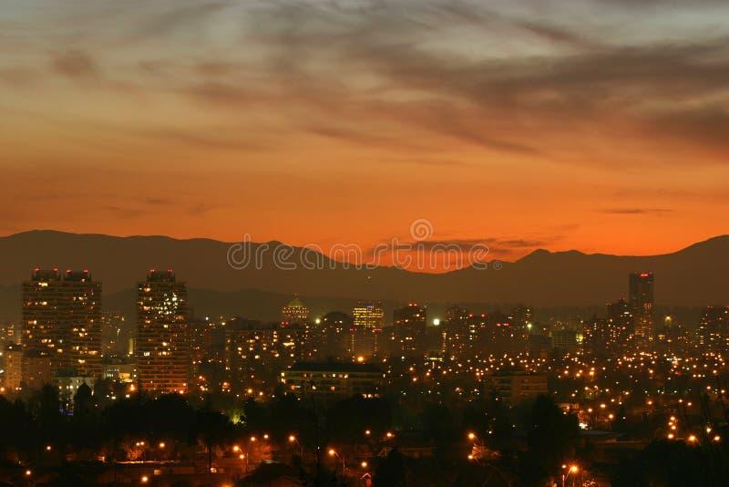 Zonsondergang over Santiago, Chili royalty-vrije stock afbeelding