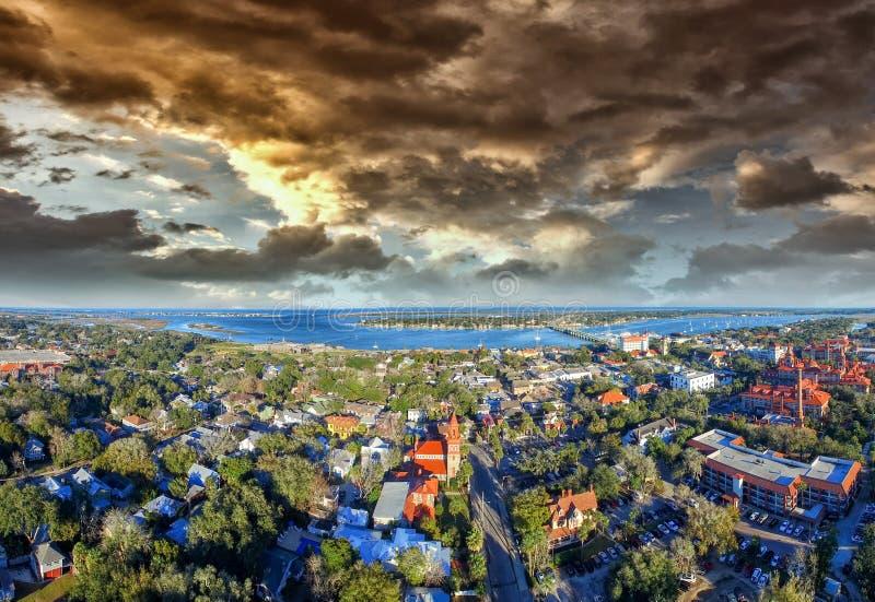Zonsondergang over St Augustine, de oudste stad van de V.S. stock afbeeldingen