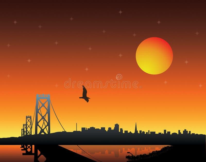 Zonsondergang over stad stock illustratie