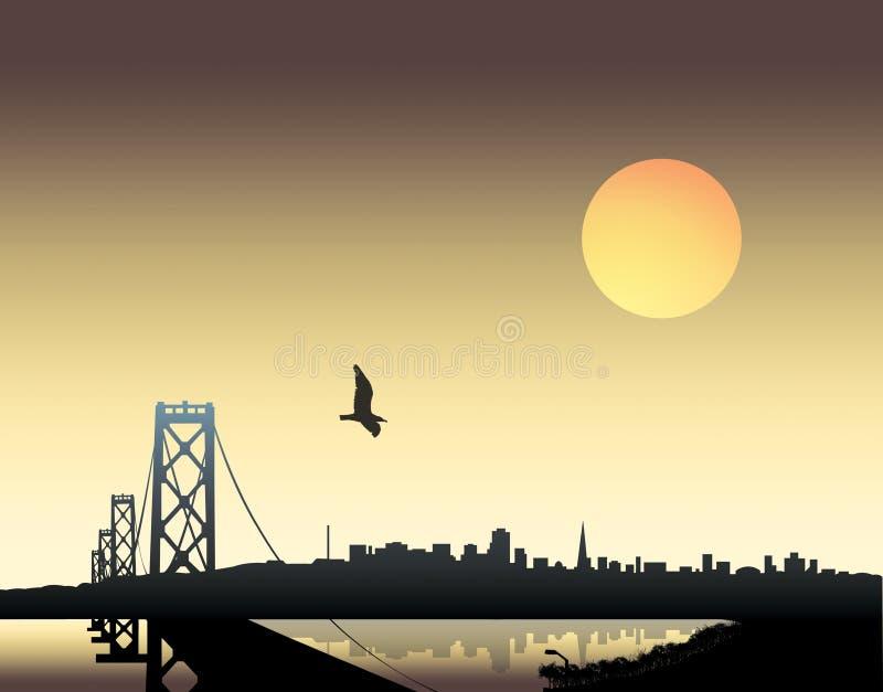 Zonsondergang over stad vector illustratie
