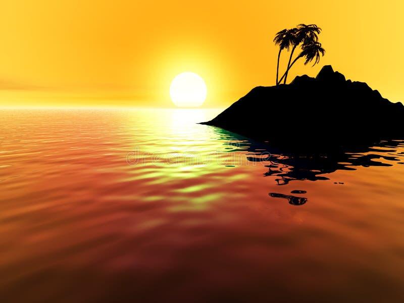 Zonsondergang over tropisch eiland vector illustratie