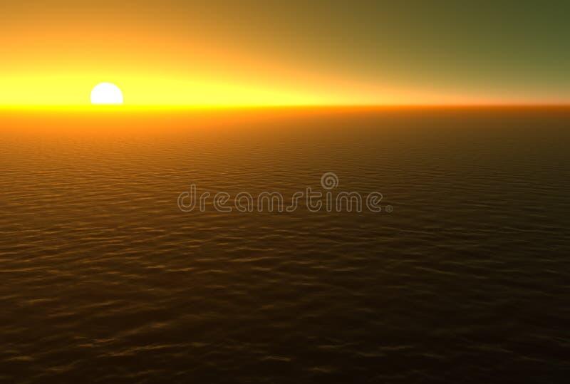 Zonsondergang over Water stock illustratie