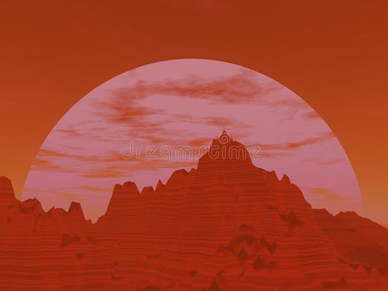 Zonsondergang over woestijnmesa stock fotografie