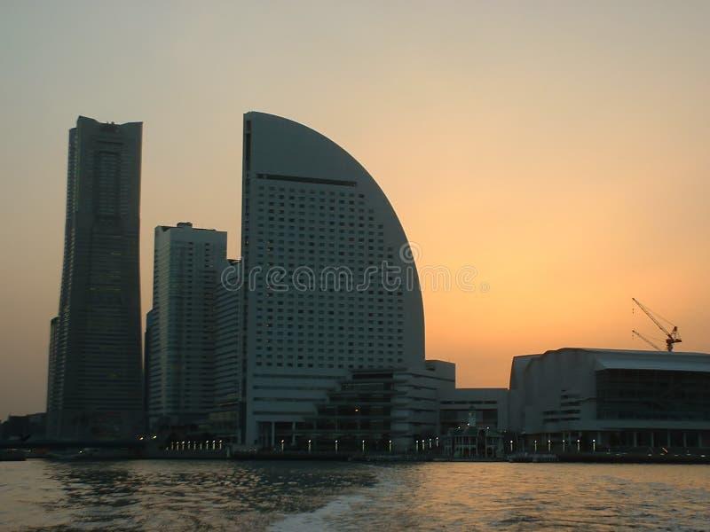 Zonsondergang over Yokohama stock foto