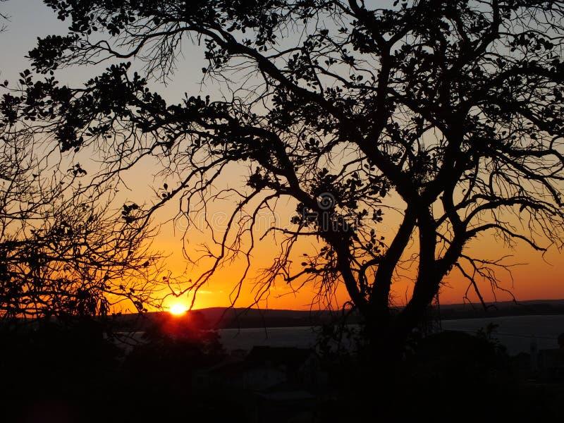 Zonsondergang in Porto Alegre, Brazilië royalty-vrije stock foto's
