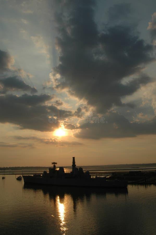 Zonsondergang in Portsmouth stock afbeelding