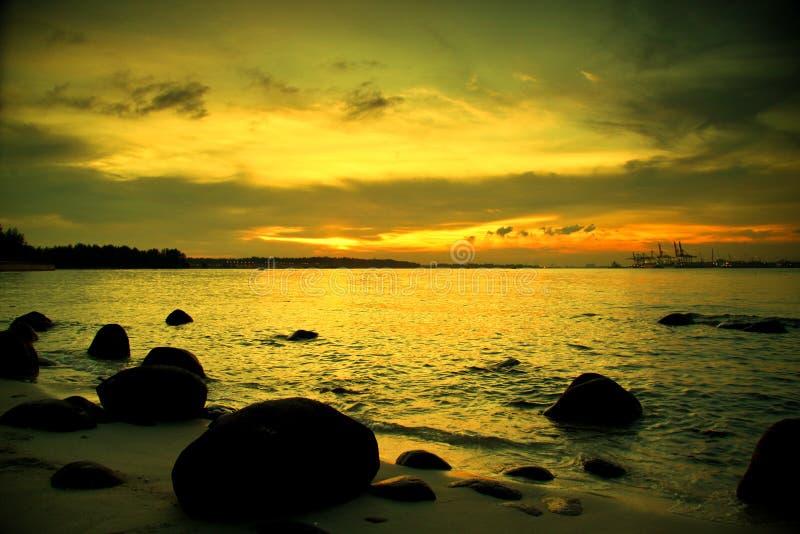 Zonsondergang in Punggol royalty-vrije stock afbeeldingen