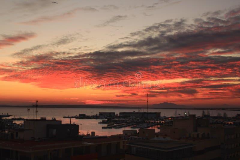 Zonsondergang in Santa Pola royalty-vrije stock afbeeldingen