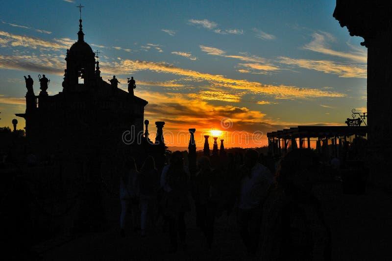 Zonsondergang Santiago de Compostela stock afbeelding