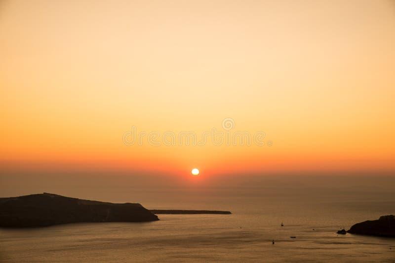 Zonsondergang in santorini royalty-vrije stock afbeelding