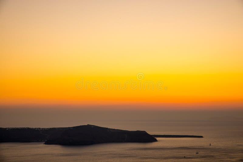 Zonsondergang in santorini royalty-vrije stock afbeeldingen