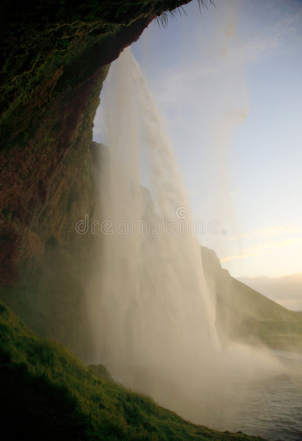 Zonsondergang in Seljalandfoss royalty-vrije stock afbeeldingen