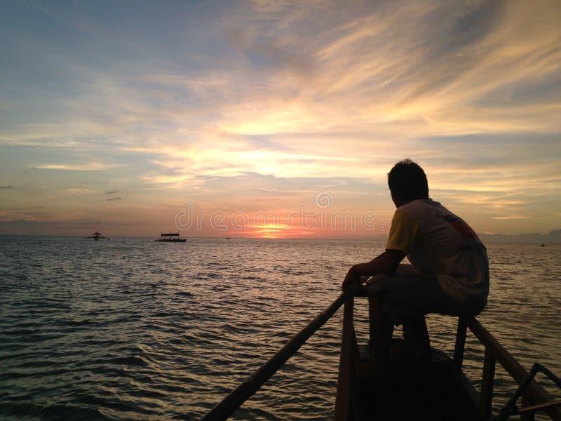 Zonsondergang in Sipalay, Negros Oosterling, Filippijnen stock afbeelding