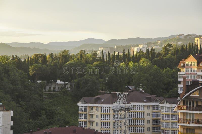 Zonsondergang in Sotchi royalty-vrije stock foto's
