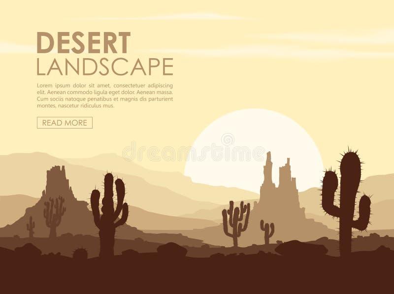 Zonsondergang in steenwoestijn met cactussen royalty-vrije illustratie