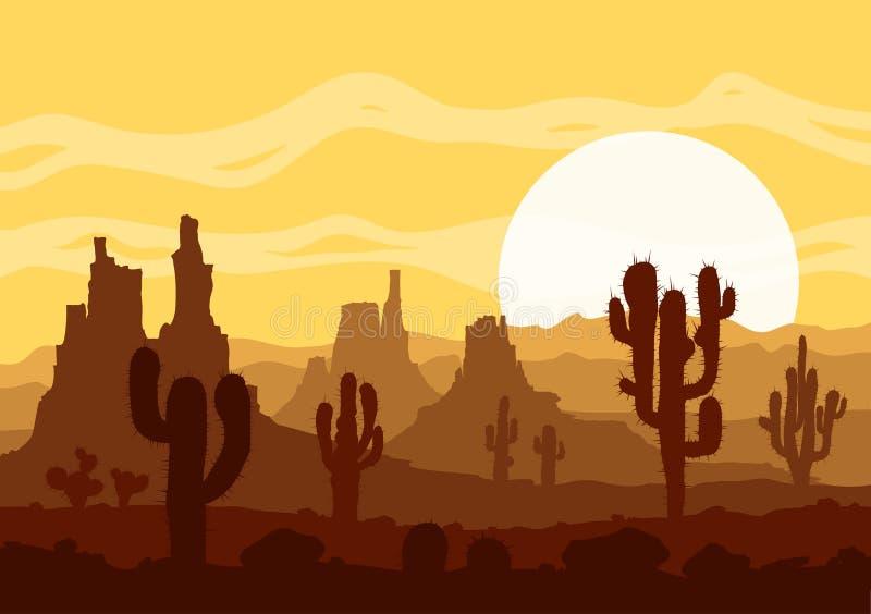 Zonsondergang in steenwoestijn met cactussen en bergen royalty-vrije illustratie