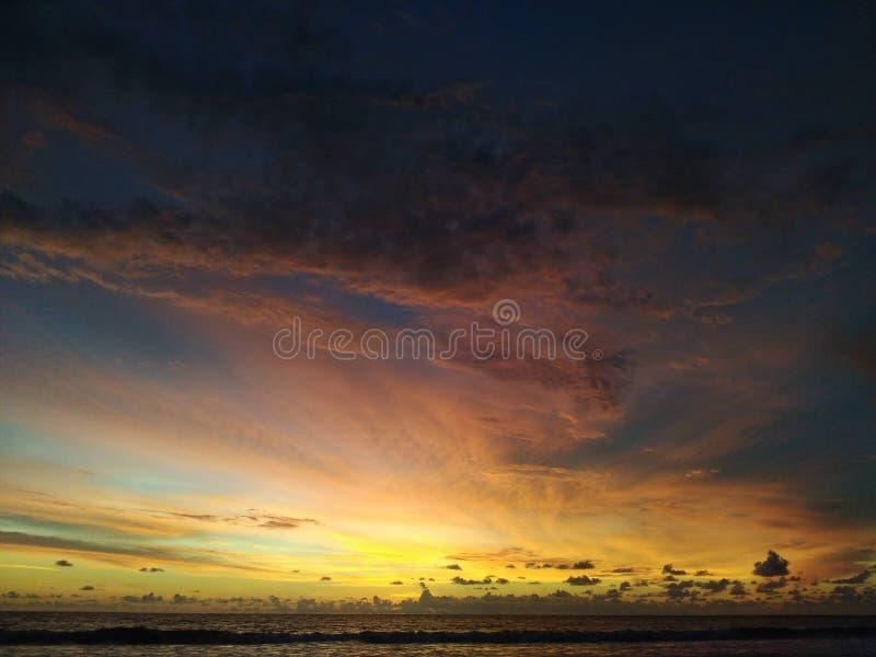 Zonsondergang in Strand royalty-vrije stock foto's