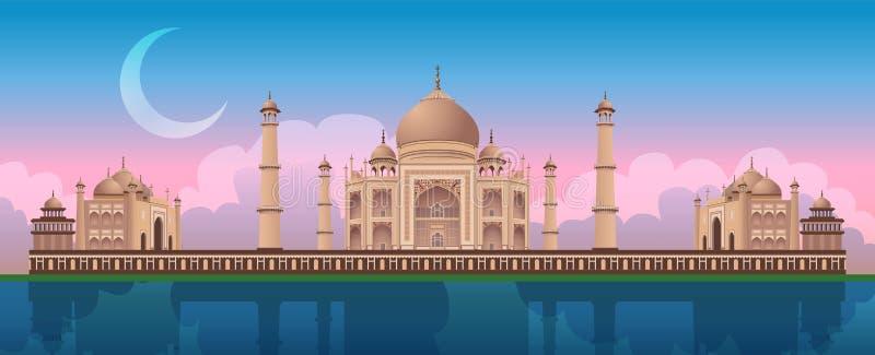 Zonsondergang in Taj Mahal in Agra, India, panoramische stadsvector stock illustratie