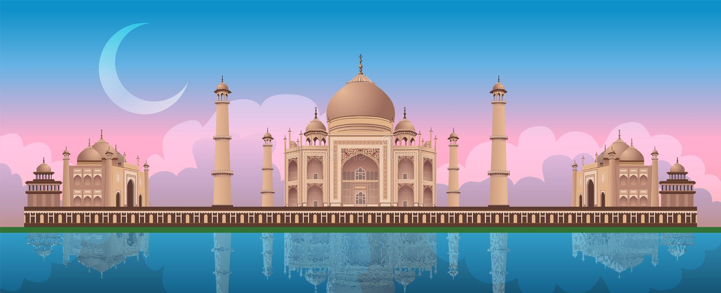 Zonsondergang in Taj Mahal in Agra, India, panoramische vector royalty-vrije illustratie