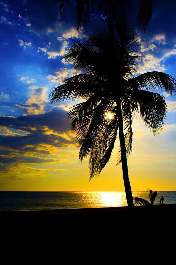 Zonsondergang in Tg. Het Strand van Aru royalty-vrije stock afbeelding
