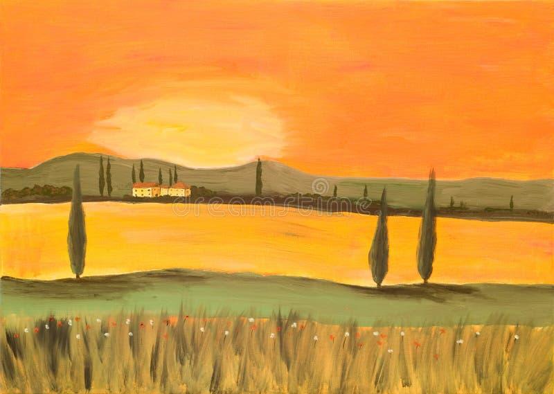 Zonsondergang in Toscanië stock afbeelding