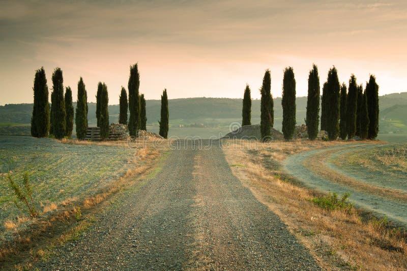 Zonsondergang in Toscanië Italië royalty-vrije stock foto's