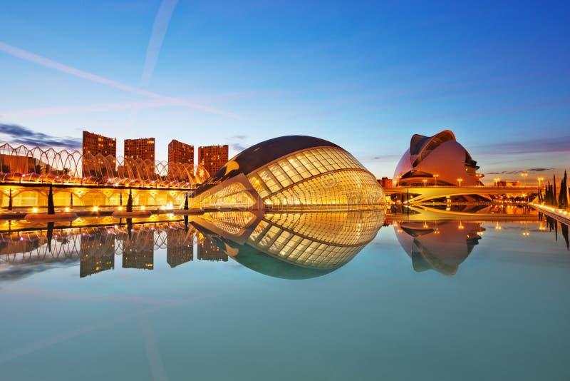 Zonsondergang in Valencia stock foto