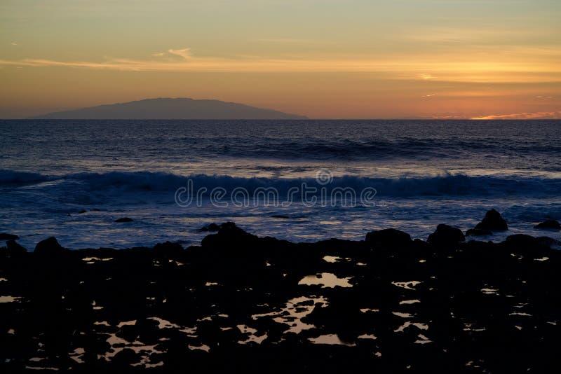 Zonsondergang in Valle Gran Rey stock foto
