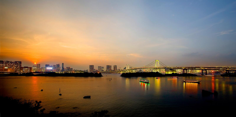 Zonsondergang van de Baai van Tokyo stock fotografie