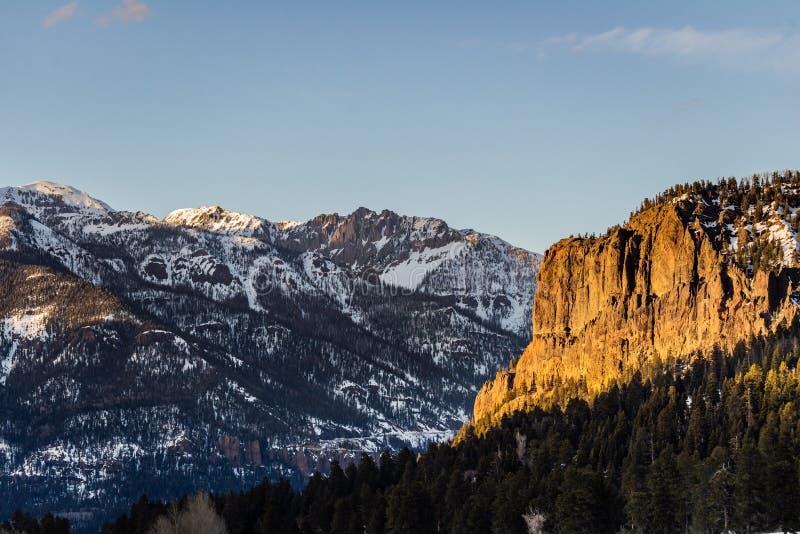 Zonsondergang van de de bergzonsopgang van Colorado de rotsachtige stock foto