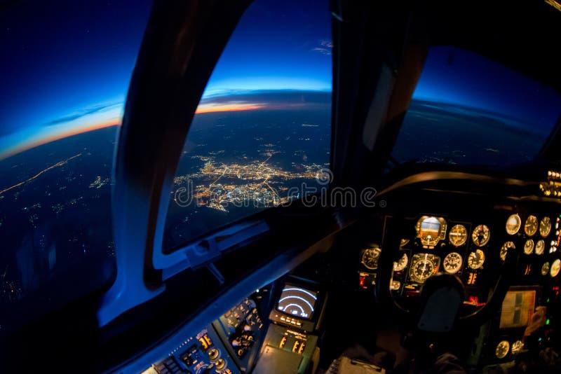 Zonsondergang van de cockpit royalty-vrije stock afbeeldingen