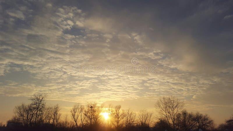 Zonsondergang van de winter royalty-vrije stock foto