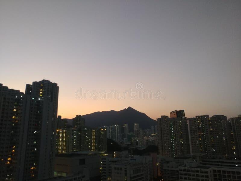 Zonsondergang van Hong Kong stock afbeeldingen