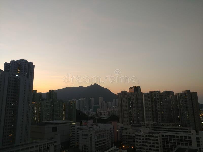 Zonsondergang van Hong Kong stock fotografie