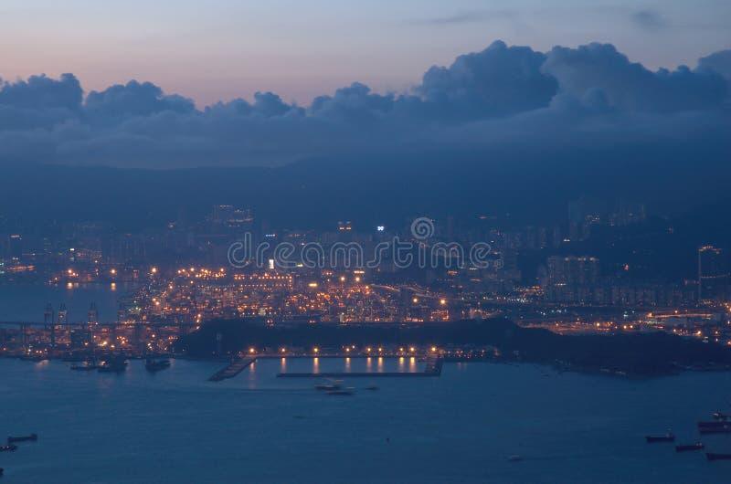 Zonsondergang van Hong Kong stock afbeelding
