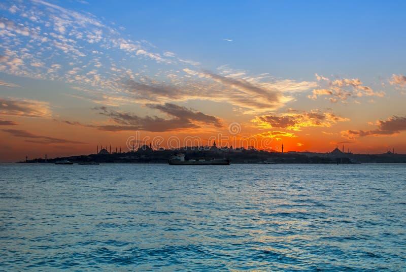Zonsondergang van Istanboel stock foto's