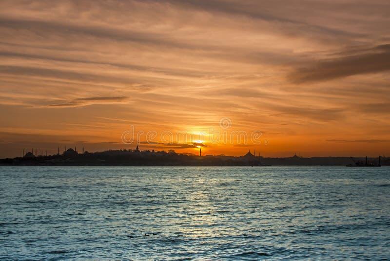 Zonsondergang van Istanboel royalty-vrije stock foto's