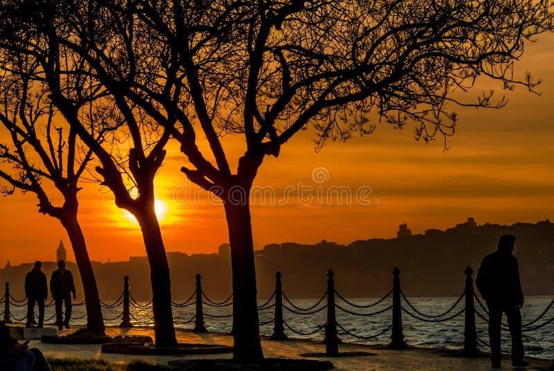 Zonsondergang van Istanboel stock afbeeldingen