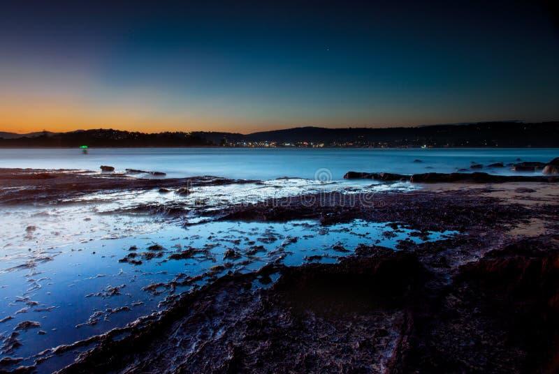 Zonsondergang van merimbula stock afbeeldingen