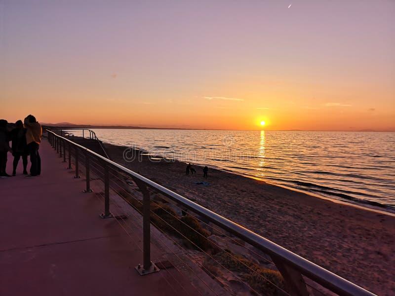 Zonsondergang van Sardinige stock fotografie