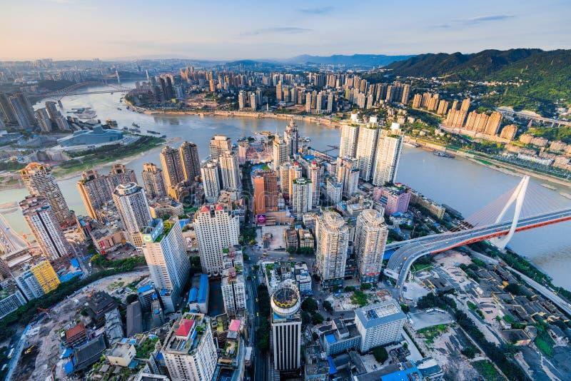 Zonsondergang van stad Chongqing stock fotografie