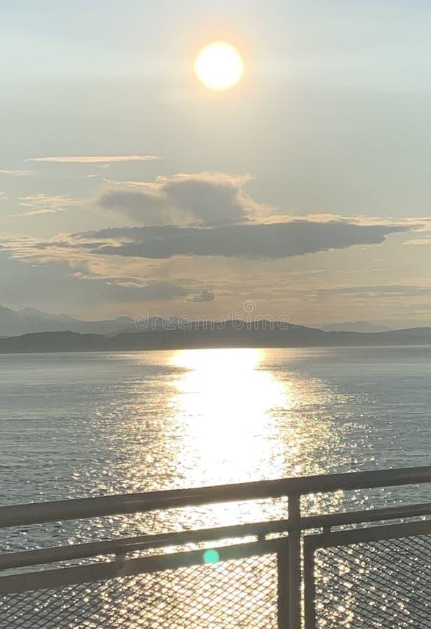 Zonsondergang van Vancouver stock afbeelding